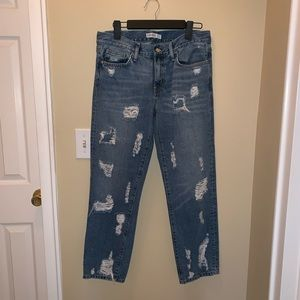 Zara boyfriend fit ripped jeans dark blue size 4